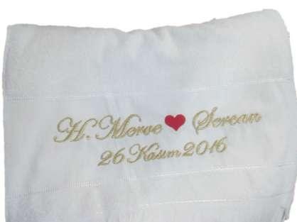 İsme Özel Yazılı Düğün Havlusu 50x80 Merve