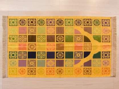 Seccade Sarı Tonlarında Renkli Kırkyama Desenli Şönil Hediyelik Seccade