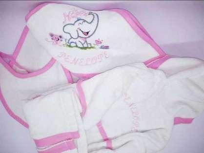 İsim Yazılı Filli 6'lı Bebek Bornoz Set