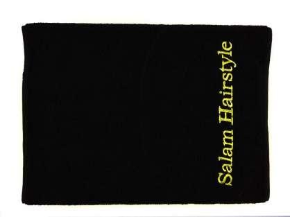 Kurumsal Havlu Özel Tasarım 50x90 Siyah Renkli Salam Hairstyling