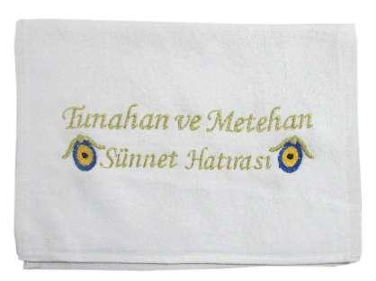 İsim Yazılı 30x50 Kadife Sünnet Havlusu Dağıtmalık Hediye Tek Kat Tunahan