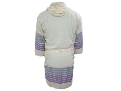 Kapüşonlu Peştemal Bornoz %100 Pamuk Natura Soft Kiss Mor Mavi