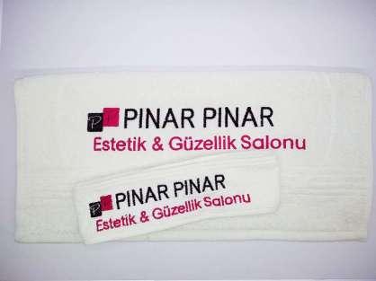 Kurumsal Havlu Logo Nakışlı Özel Tasarım Set Beyaz Renkli Pınar Pınar Güzellik Salonu