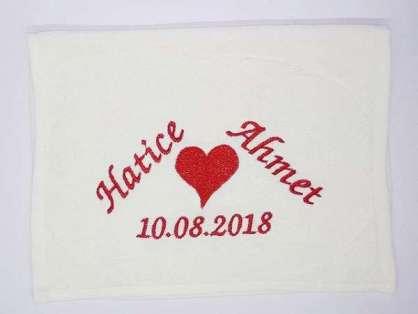 İsim Yazılı Düğün Havlusu 30x50 Hatice Ahmet