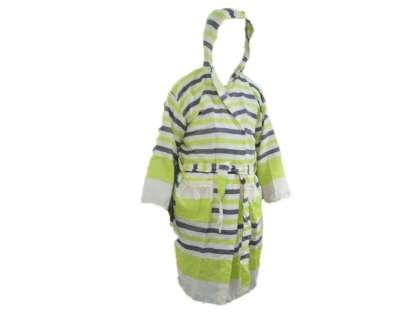 Kapüşonlu Peştemal Bornoz %100 Pamuk Natura Soft Kiss Fıstık Yeşili Lacivert