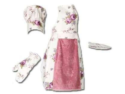 Havlulu Mutfak Önlüğü Rose (Şapka, Eldiven, Tutaç -EKLENEBİLİR)