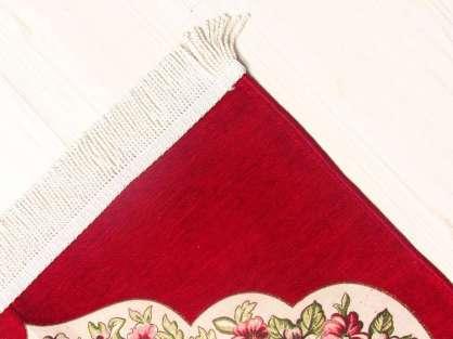 Lüx Saçaklı Seccade Arabic Kırmızı  Desenli