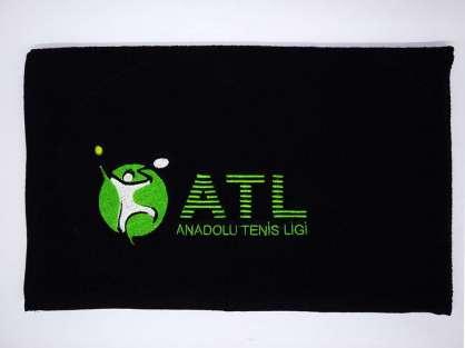 Kurumsal Havlu Logo Nakışlı Özel Tasarım 50x90 Siyah Renkli ATL Sporcu Havlusu