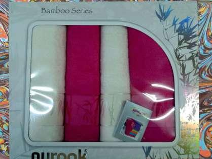 Nurpak Banyo Bamboo 4'lü Havlu Set 2 Baş 2 Duş Fuşha Beyaz Renk