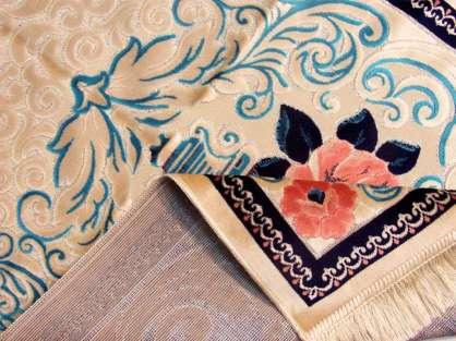 Seccade Pembe-Mavi Tonlarında Krem Renkli Gül Desenli Kadife  Hediyelik Seccade