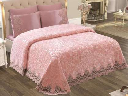 Anna Karina Home Battaniyeli Yatak Örtü Seti Safir Ekru