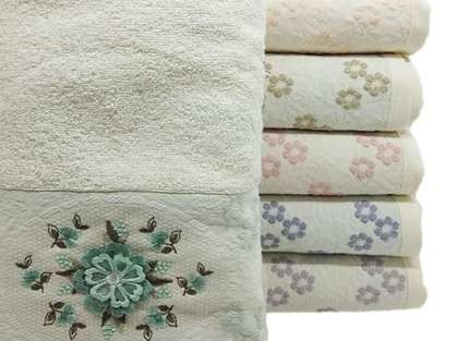 12'li Şaheser Kelebek Serisi 3D Çiçek Nakışlı 50*90 El Yüz Havlusu