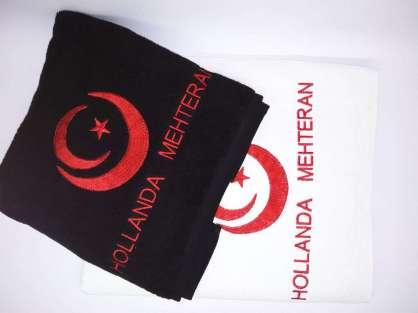 Kurumsal Havlu Logo Nakışlı Özel Tasarım 50x90 Kırmızı Siyah Beyaz  Renkli Havlu