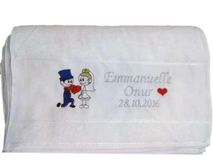 İsme Özel Tasarımlı 50x80 Düğün Havlusu Emanuel