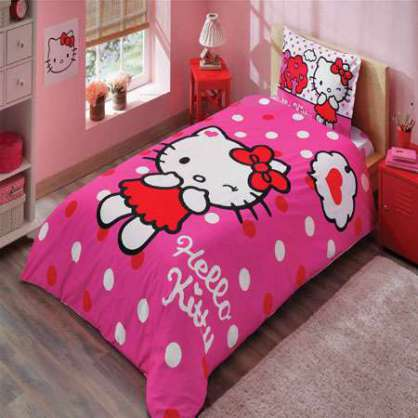 Taç Lisanslı Hello Kitty Pink Nevresim Takımı
