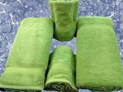 Banyo 4'lü Havlu Set- 2 Duş 2 Baş Havlusu Haki