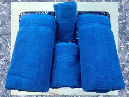 Banyo 4'lü Havlu Set- 2 Duş 2 Baş Havlusu Mavi