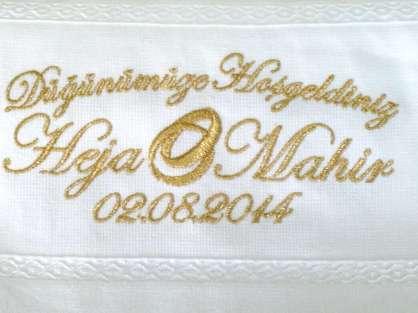 Düğün Hediyelik Dağıtmalık Kişiye Özel İsim Yazılı  30x50 Havlu
